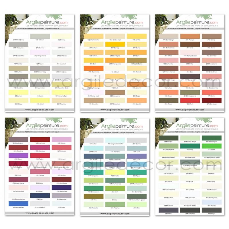 Nuancier peinture l 39 argile pr sentant les 165 couleurs et la texture for Peinture v nuancier
