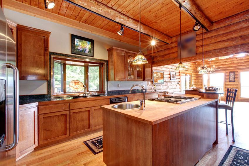 Interieur de cuisine en enduit décoratif à l'argile
